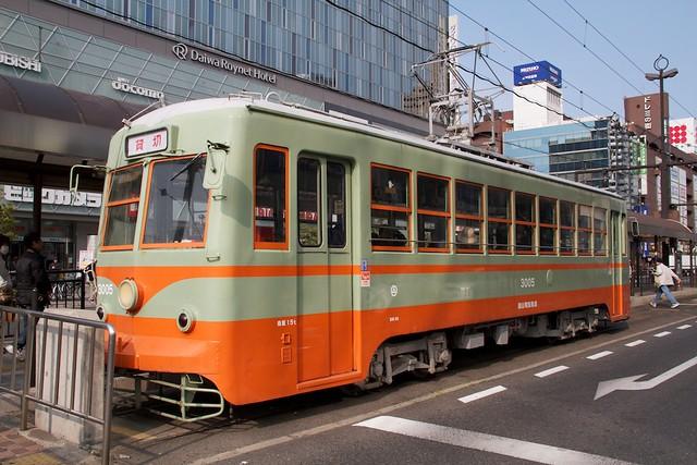 岡山電気軌道3000形3005号 東武日光軌道色復元車