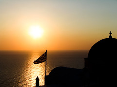 Oia sunset (Mats Mattsson) Tags: sunset sea holiday church silhouette europe flag peaceful calm santorini greece leisure oia colorphotoaward