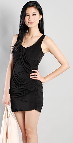 HERVELVETVASE. draped chiffon minidress in BLACK