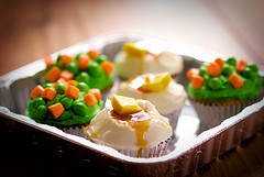potatoes and peas (bethflick) Tags: food cupcakes mashed potatoes gravy butter carrot april icing trick fools pea runts starburst