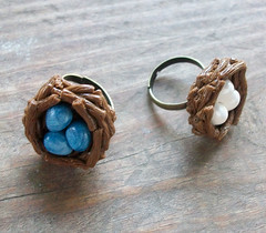 Nest Rings (Cantankerous Cupcake) Tags: bird nature nest jewelry ring polymerclay