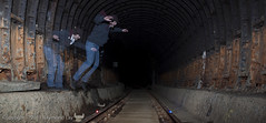 Tunnel ghost jump for life (Mondino1980) Tags: blue light shadow red 3 vortex man flower london wool wheel train fire jump wire rust track ghost orb 8 tunnel led raymond lay armed connaught mondino murphyz