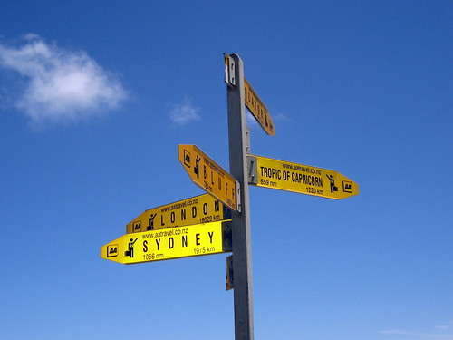 Marker signs at Cape Reinga, Northland Region, North Island, New Zealand