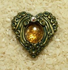 Deco Heart pendant (Sweet2Spicy) Tags: heart clay bead swarovski gem pendant polymer focal