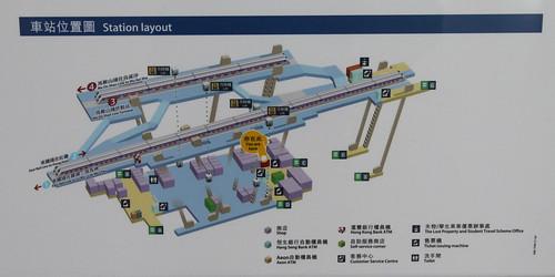 Diagram showing platform layout and exits at Tai Wai station