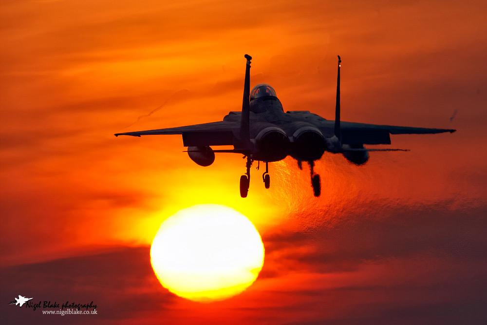 McDonnell Douglas Boeing F15C Eagle, 86-0165,  493 FS, 48 FW, RAF Lakenheath,  landing at sunset.