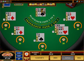 Multi-Hand European Blackjack game