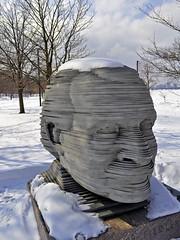 Fiedler in a Snow Cap (AntyDiluvian) Tags: winter sculpture snow statue boston river memorial massachusetts charlesriver january cap esplanade embankment fiedler bostonpops bostonist arthurfiedler bostonpopsorchestra