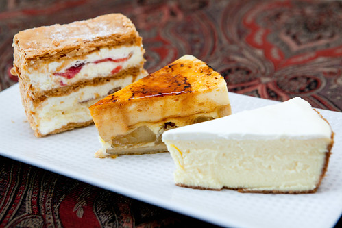 Trio of cake and strawberry mille feuille slices