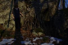 039 hiding (tech no logic) Tags: shadow tree me stone forest sticks cave 365 hiding ufraw
