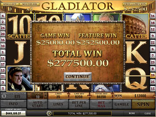 free Gladiator slot free spins win