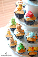 Reptile World (Little Cottage Cupcakes) Tags: birthday cupcakes turtle reptile snake frog lizard toad crocodile chameleon fondant cupcaketower sugarpaste littlecottagecupcakes