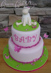 Girly Lamb Baby Shower (Christina's Dessertery) Tags: pink baby flower green girl cake butterfly shower border fuschia lamb lime frill forgetmenots christinajohnson creativecakedesigns