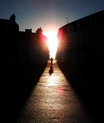 Close Encounter (MC08) Tags: shadow sunlight man island scotland fuji pics path westcoast millport cumbrae 2011 fujipics2011