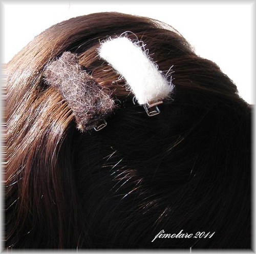 White and Brown small Barrettes