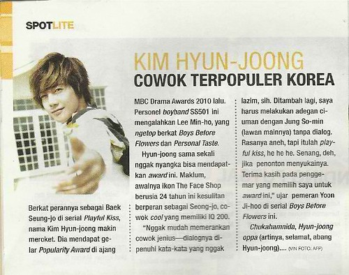 "Kim Hyun Joong ""The Most Popular Man in Korea"" Spotlite Malaysian Magazine"