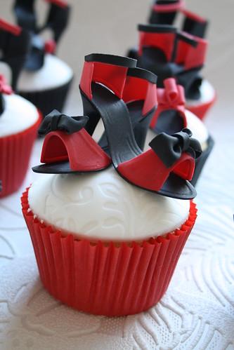 Mini shoe cupcakes