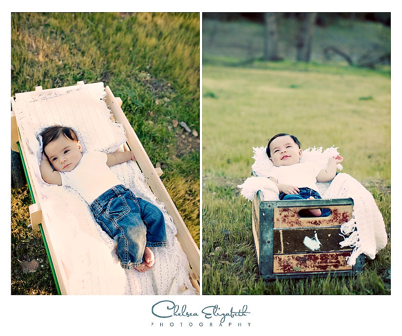 Vintage baby basket and wagon photograph