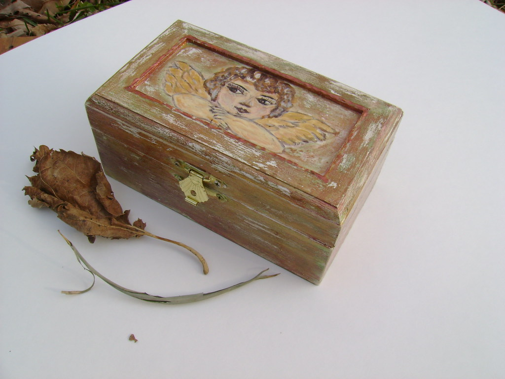 Jewelry Box-Keepsakes Box-Trinket Box-Treasure Box-Painting Wooden Box-Perfect Gift Idea-Chabby Chic-Vintage-Angel