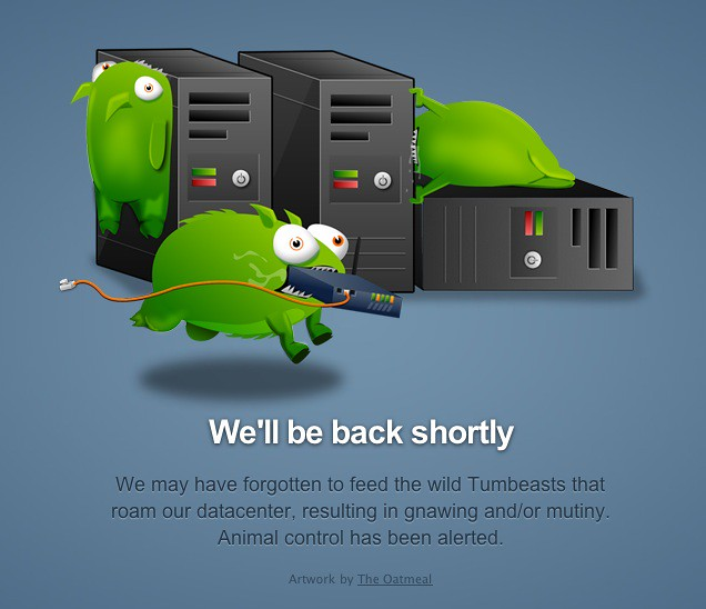 Tumblr Error Page Featuring Tumbeasts by The Oatmeal