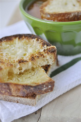 Chicken Parmesan Soup with garlic parmesan toast