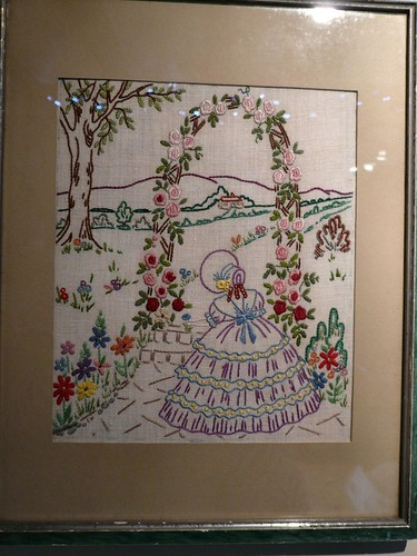 embroidered rose arch picture