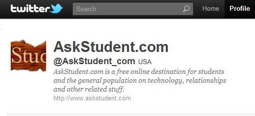 Follow AskStudent on Twitter