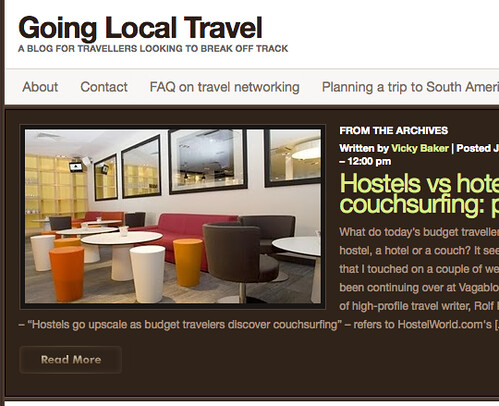 Vicky Baker's Going Local Travel is a good starting point for comparing the various travel hospitality options
