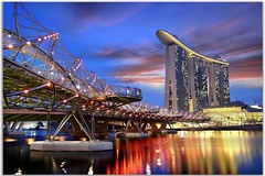 singapore Marina Bay Sands (Kenny Teo (zoompict)) Tags: bridge sunset marina landscape bay yahoo google singapore teo heli