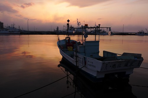 Nightfall of Kushiro port