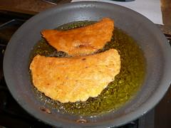 Frying the quesadillas