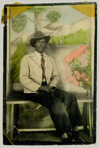 Man in a photobooth