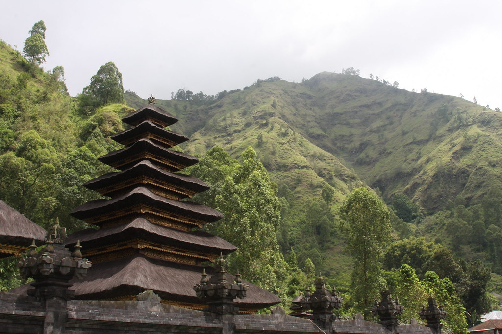 Temple backed by the peak, Gunung Batur, Bali