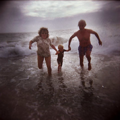 When you're young, you're crazy to do that stuff (jean-christophe sartoris) Tags: camera family 120 film beach colors analog toy photography holga child joy bretagne run holydays
