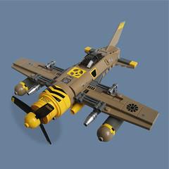 Karibachi Zero - Sky Fighter (Fredoichi) Tags: plane fighter lego space military micro shooter shootemup skyfi shmup microscale dieselpunk skyfighter fredoichi