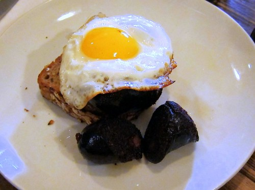 Smoked black pudding, maple apple, grain toast and a fried egg