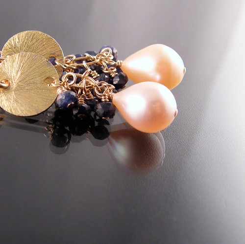 Pearls Blue Sapphire and Gold Filled Earrings - Isabella Limited Edition Earrings