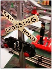 rail road crossing (f l a m i n g o) Tags: railroad train model track crossing cross stop setup