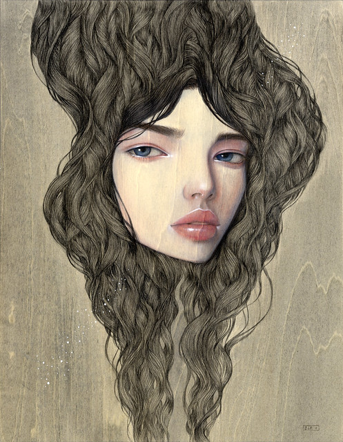 "Strangely Transparent. 11"" x 14"".  Acrylic & Colored Pencil on Wood. © 2011"