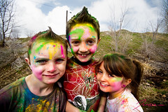 Day 85/365: Holi Festival of Colors. (Jenisse Decker) Tags: pink light color green yellow festival kids photoshop fun outside three chalk cool colorful mess paint natural little 1020mm holi throw lightroom 60d