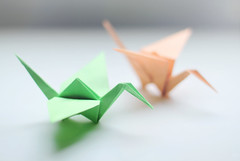 Cranes for best wishes (bambooland) Tags: orange green colors japan canon paper japanese 50mm origami dof bokeh crane f14 lucky 1000cranesforjapan