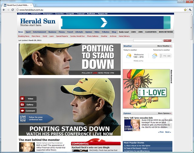 Herald Sun: Ponting stepping down