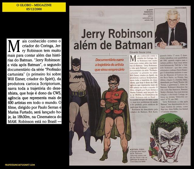 """Jerry Robinson além de Batman"" - O Globo - 05/12/2000"