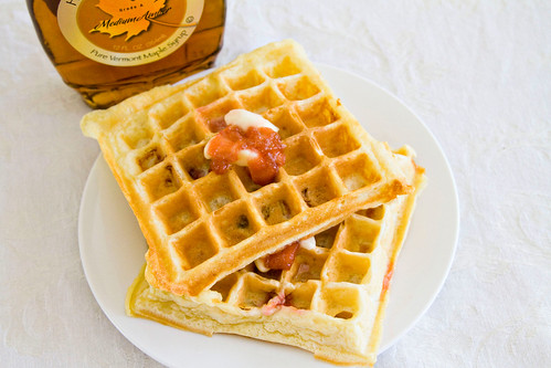 Rhubarb and Yogurt Belgian Waffles - 4