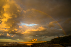 Bamburgh Sunset [Explored 02/10/16] (aljones27) Tags: bamburgh northumbria castle beach coast coastal sea cloud clouds sunset rainbow colour golden goldenhour mpt509 matchpointwinner