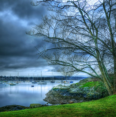 O false moonlit paths (Nick Kenrick.) Tags: ocean city travel winter summer canada reflection green tourism beach water landscape bay boat waves quiet peace bc pacific yacht cove canadian vancouverisland tranquil hdr victor