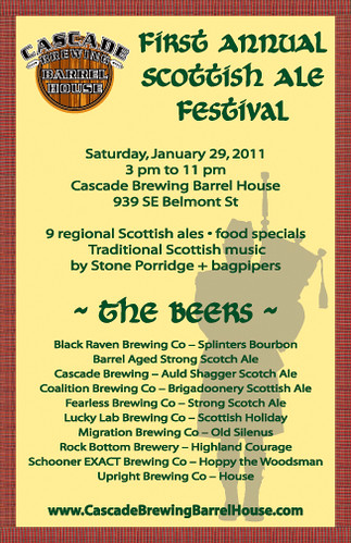1st annual Scottish Ale Festival @ Cascade Brewing Barrel House | Scottish Ales & Food, No Cover, Music,
