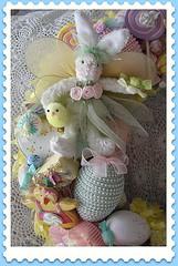 Easter Bunny Wreath (Treasured Heirlooms) Tags: pink blue roses bunny bunnies yellow easter aqua purple candy lavender pearls ephemera wreath vintagepostcard pastels eggs chicks lollipops vintageeaster candycups
