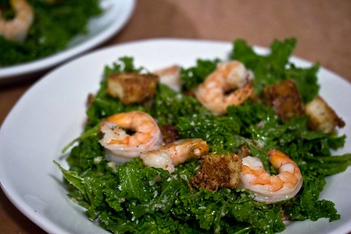 mustard greens caesar with shrimp and anchovy croutons