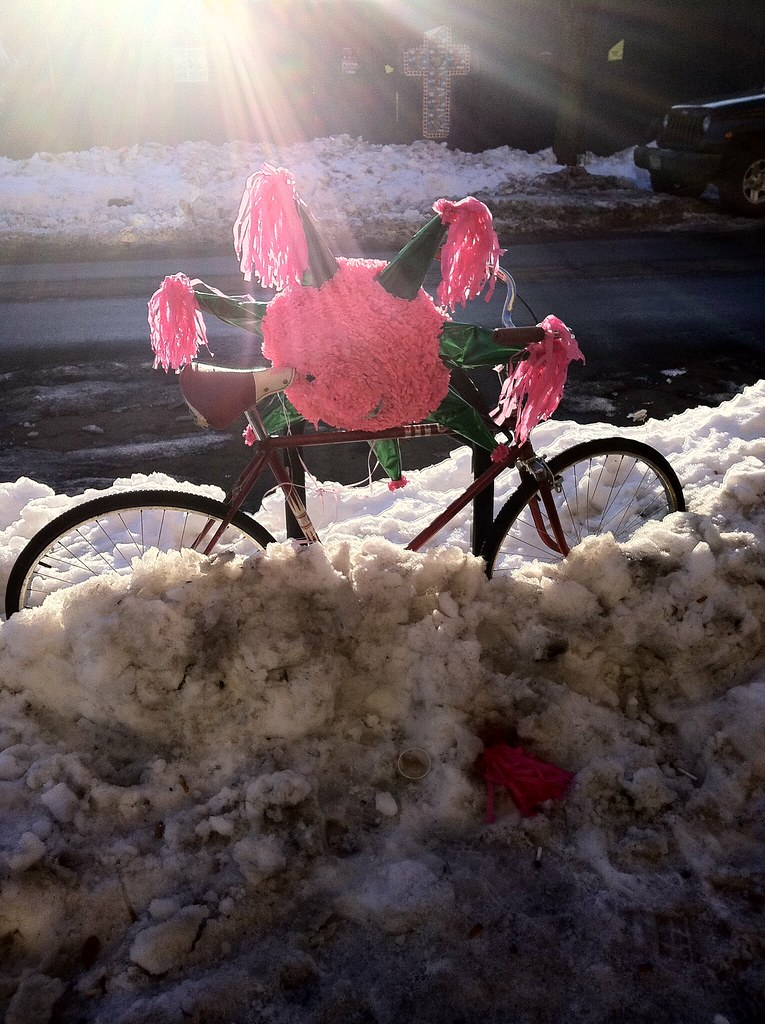 Snow, piñata, bike - only on Bedford Ave
